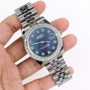 Rolex Datejust 116200 36mm 1.85ct Diamond Bezel/Black Pearl Dial Steel Watch