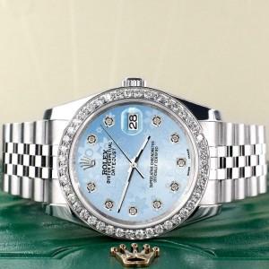 Rolex Datejust 116200 36mm 1.85ct Diamond Bezel/Blue Flower Dial Steel Watch