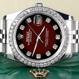 Rolex Datejust 116200 36mm 1.85ct Diamond Bezel/Maroon Red Dial Steel Watch