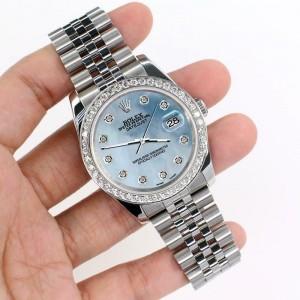 Rolex Datejust 116200 36mm 1.85ct Diamond Bezel/Sky Blue MOP Dial Steel Watch