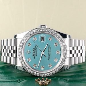 Rolex Datejust 116200 36mm 1.85ct Diamond Bezel/Turquoise Dial Steel Watch