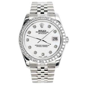 Rolex Datejust 116200 36mm 1.85ct Diamond Bezel/White Jubilee Dial Steel Watch