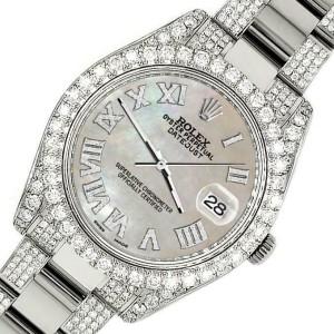 Rolex Datejust II 41mm Diamond Bezel/Lugs/Bracelet/ChampagneMOP Roman Dial Watch