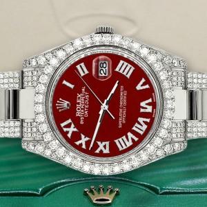 Rolex Datejust II 41mm Diamond Bezel/Lugs/Bracelet/Imperial Red Roman Dial Watch