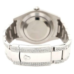 Rolex Datejust II 41mm Diamond Bezel/Lugs/Bracelet/Purple MOP Roman Dial Watch