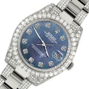Rolex Datejust II 41mm Diamond Bezel/Lugs/Bracelet/Black Pearl Dial Watch