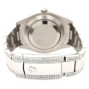 Rolex Datejust II 41mm Diamond Bezel/Lugs/Bracelet/Black Pearl Roman Dial Watch