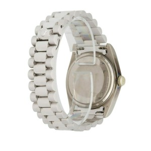 Rolex Day Date 18039 18K White Gold Diamond Dial Men's Watch