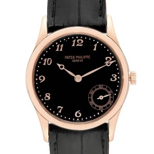 Patek Philippe Calatrava Rose Gold Black Dial Automatic Watch 5026R