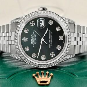 Rolex Datejust 36mm Steel Watch 2.85ct Diamond Bezel/Pave Case/Black MOP Dial