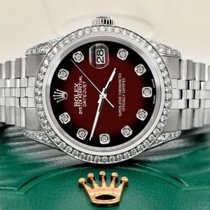 Rolex Datejust 36mm Watch 2.85ct Diamond Bezel/Pave Case/Maroon Vignette Dial