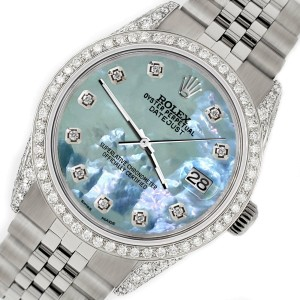 Rolex Datejust 36mm Watch with 2.85ct Diamond Bezel/Pave Case/Tahitian Blue Dial