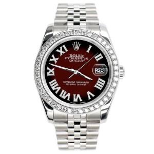 Rolex Datejust 116200 36mm 2.0ct Diamond Bezel/Maroon Vignette Roman Dial Watch