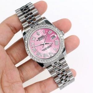 Rolex Datejust 116200 36mm 2ct Diamond Bezel/Pink Flower Roman Dial Steel Watch