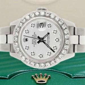 Rolex Datejust 26mm Steel Watch 1.3ct Diamond Bezel/Silver Diamond Dial