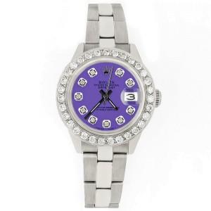 Rolex Datejust 26mm Steel Watch 1.3ct Diamond Bezel/Lavender Diamond Dial
