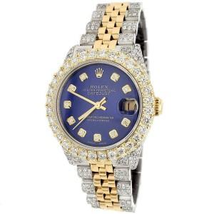 Rolex Datejust 26mm 2-Tone 6.45ct Diamond Case/Bezel/Bracelet/Royal Blue Dial