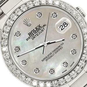 Rolex Datejust Midsize 31mm 1.52ct Bezel/Champagne MOP Dial Steel Oyster Watch
