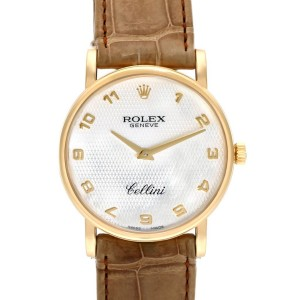 Rolex Cellini Classic Yellow Gold MOP Dial Brown Strap Mens Watch 5115