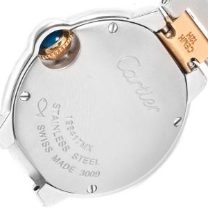 Cartier Ballon Blue 28 Steel Yellow Gold Small Ladies Watch W69007Z3