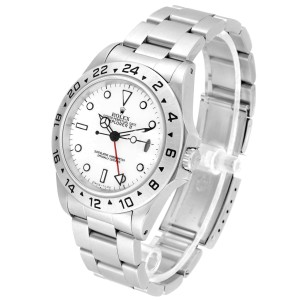 Rolex Explorer II White Dial Red Hand Steel Mens Watch 16570 Box Papers
