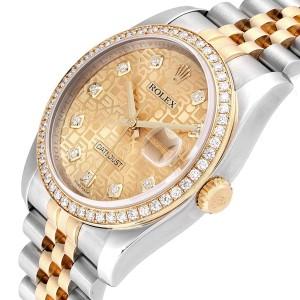 Rolex Datejust Steel Yellow Gold Anniversary Diamond Mens Watch 116243
