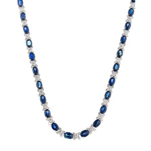 18k White Gold Diamond And Sapphire Necklace