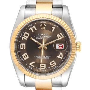 Rolex Datejust Steel Yellow Gold Brown Dial Mens Watch 116233 Box Card