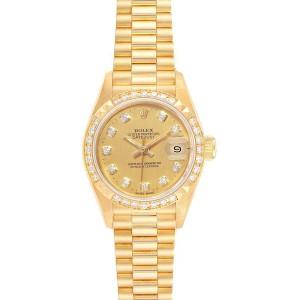 Rolex President 26 Yellow Gold Pyramid Bezel Diamond Ladies Watch 69268