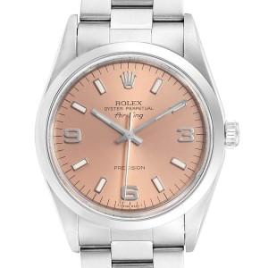 Rolex Air King 34 Salmon Dial Oyster Bracelet Steel Unisex Watch 14000