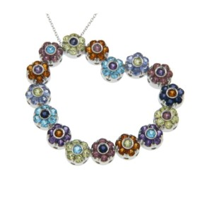 Pasquale Bruni 18K White Gold Multicolor Gemstones Flowers Heart Necklace