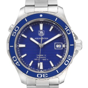 Tag Heuer Aquaracer Calibre 5 500M Blue Dial Steel Mens Watch WAK2111
