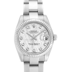 Rolex Datejust Midsize Steel White Gold Meteorite Diamond Watch 178274