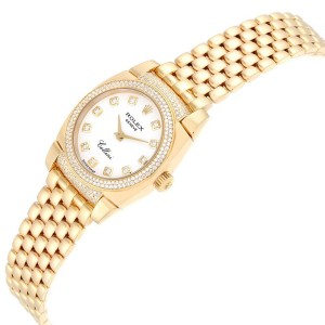 Rolex Cellini Cestello Yellow Gold Diamond Ladies Watch 6311 Box Papers