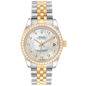 Rolex Datejust Midsize Steel Yellow Gold MOP Diamond Ladies Watch 178383