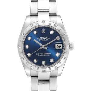 Rolex Datejust Midsize Blue Diamond Dial Ladies Watch 178344 Box Card