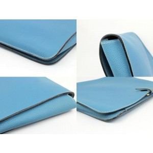 Hermès Jean Togo Extra Large Porte-documents Dogon Portfolio 230564 Blue Leather Clutch