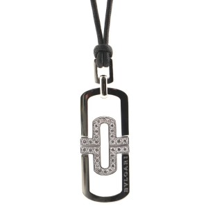 Bvlgari Parentesi Pendant Necklace Leather Cord with 18k White Gold with Steel and Diamonds