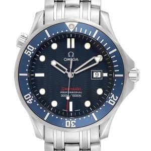 Omega Seamaster Bond 300M Blue Wave Dial Mens Watch 2221.80.00