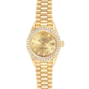 Rolex President Datejust Yellow Gold Diamond Ladies Watch 69178 Box Papers