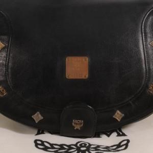 MCM Studded Messenger Cross Body 868826 Black Leather Shoulder Bag