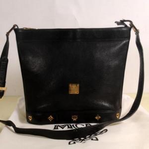 MCM Studded Messenger 868827 Black Leather Cross Body Bag