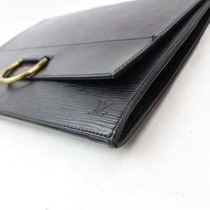 Louis Vuitton Iena Pochette Noir Ring Fold 869006 Black Leather Clutch