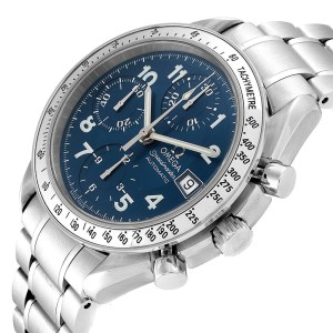 Omega Speedmaster Date 39 Blue Dial Chronograph Mens Watch 3513.82.00