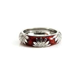 Hidalgo 18K White Gold Red Enamel Diamond Band Ring