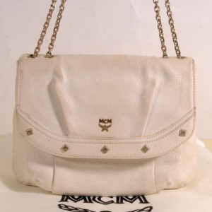 MCM Studded Chain Flap 869245 White Leather Shoulder Bag