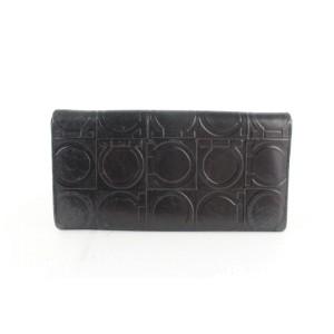 Salvatore Ferragamo Black Gancini Logo Embossed Long Flap Long 21mz1220 Wallet