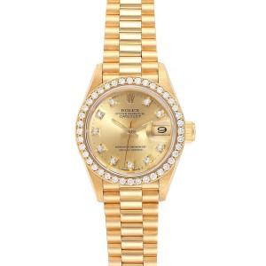 Rolex President Datejust 26mm Yellow Gold Diamond Ladies Watch 69138