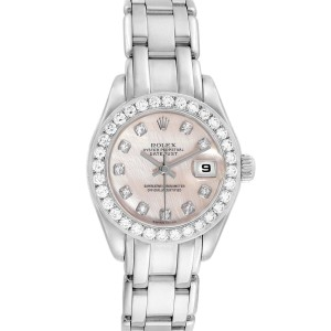 Rolex Pearlmaster White Gold MOP Diamond Ladies Watch 80299 Box Papers