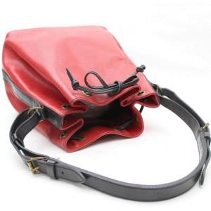 Louis Vuitton Bucket Bicolor Epi Black Petit Noe Drawstring Hobo 869538 Red Leather Shoulder Bag